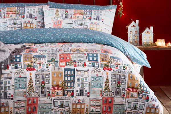 festive town christmas duvet cover set by paoletti