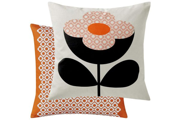 orla kiely buttercup stem cushion persimmon