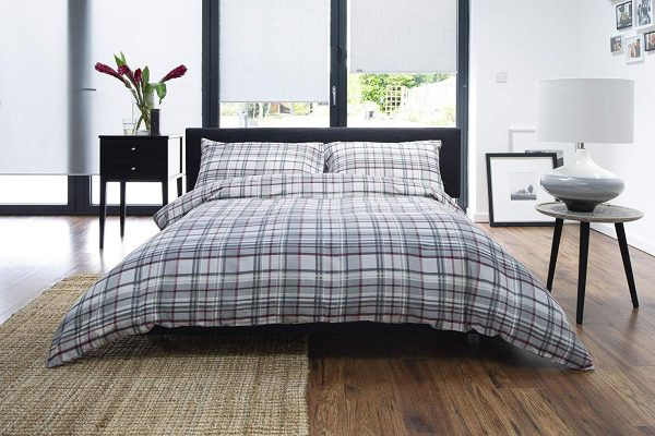 red and grey check duvet cover