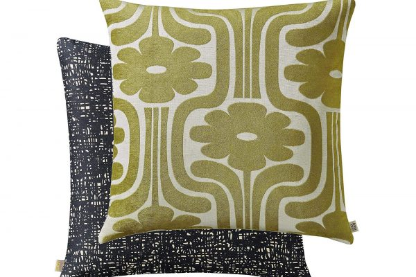 orla kiely climbing daisy yellow olive cushion