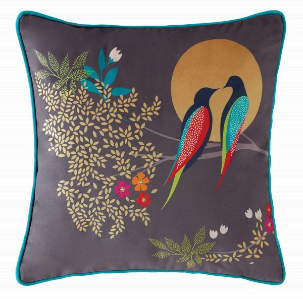 sara miller birds at dusk cushion