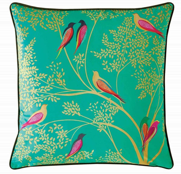 sara miller green birds cushion