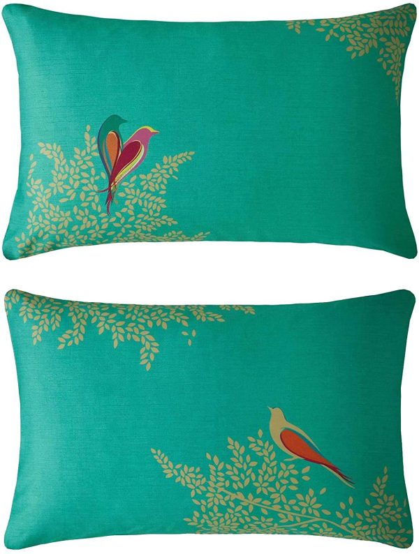 sara miller green birds pillowcases