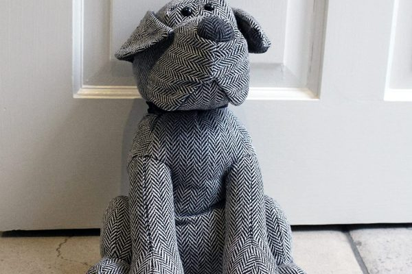 novelty animal heavyweight doorstop grey herringbone dog