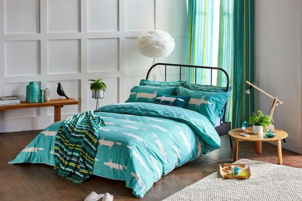 scion mr fox teal bedding range