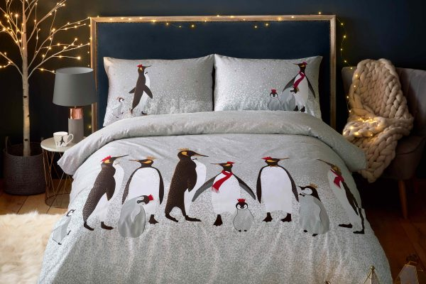 Christmas Penguins Sara Miller Duvet Cover Set