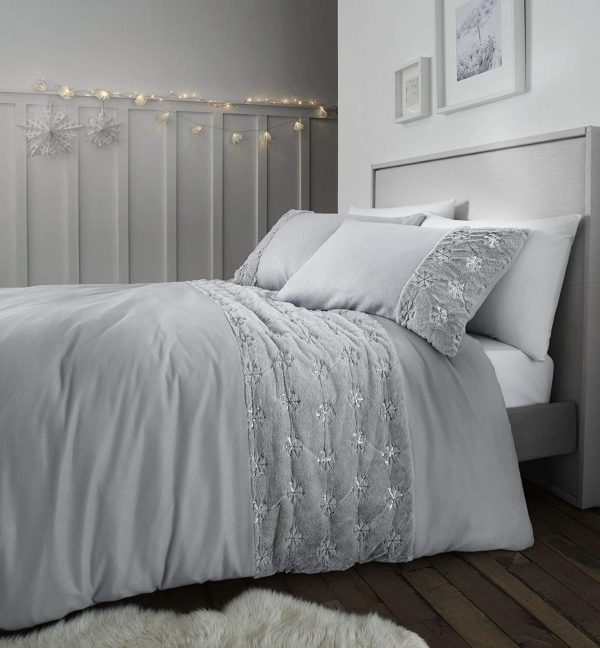 catherine lansfield cosy silver duvet cover set