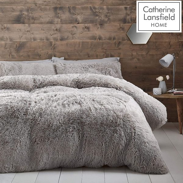 catherine lansfield cuddly silver duvet cover set