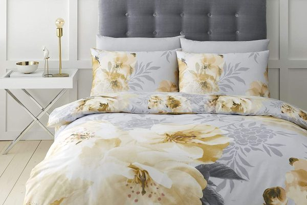 catherine lansfield dramatic floral ochre duvet cover set