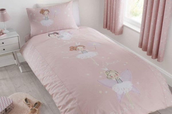 catherine lansfield glow in the dark pink make a wish bedding