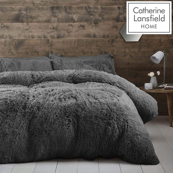 cuddly charcoal duvet cover set catherine lansfield