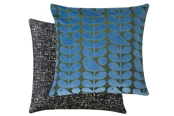 Orla Kiely Early Bird Azure Velvet Cushion 50x50