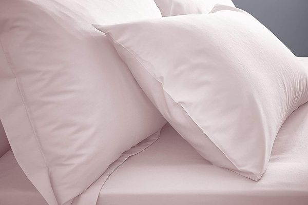 blush pink bianca double fitted sheet extra deep & pillowcases