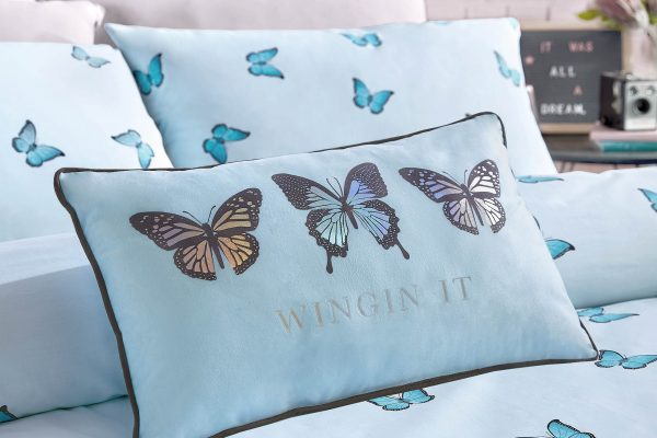 butterfly blue wingin it cushion