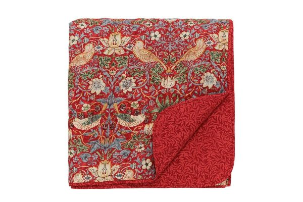 Morris & Co Strawberry Thief Crimson Quilted Bedspread