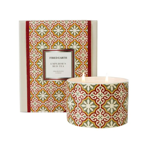 wax lyrical fired earth large ceramic candle emperors red tea