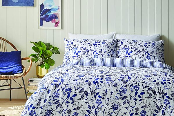Brianna Floral Duvet Cover Set in Blue 100% Egyptian Cotton by Bianca