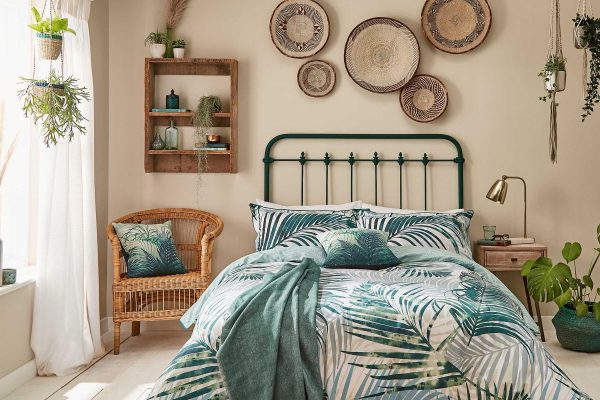 Palm Leaf Duvet Cover Set in Forest Green by Clarissa Hulse