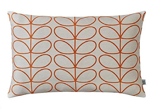 orla kiely woven linear stem cushion orange