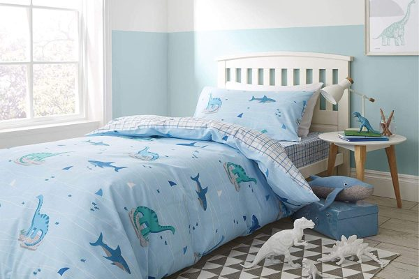 dinoshark and check blue duvet set