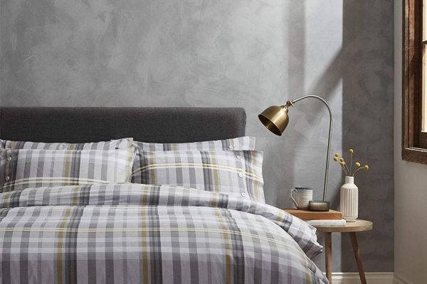 bianca campbell check brushed cotton duvet set