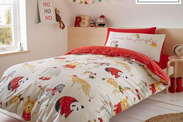 catherine lansfield jungle bells duvet cover set