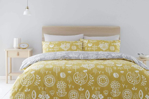 catherine lansfield retro birds ochre duvet set