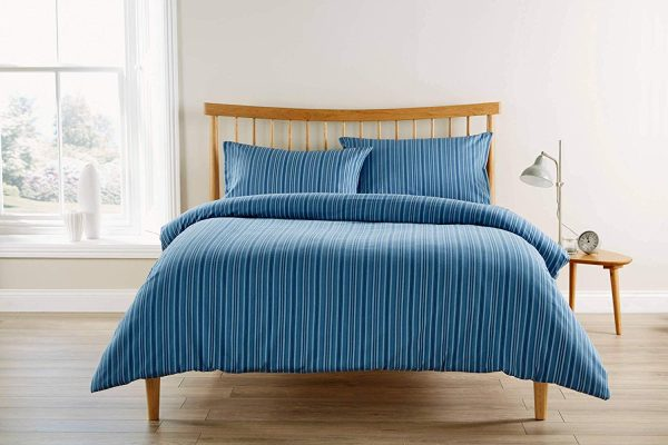 finchley stripe denim blue brushed cotton duvet set