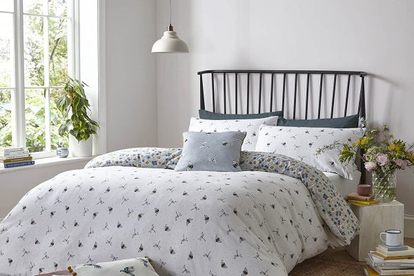 FATFACE-Bedding-Bedtime-Bees-Brushed-Cotton-White-Duvet-Cover-Set