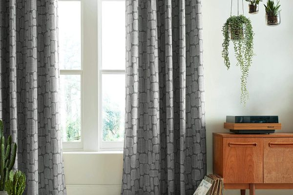 missprint smoke grey little trees curtains