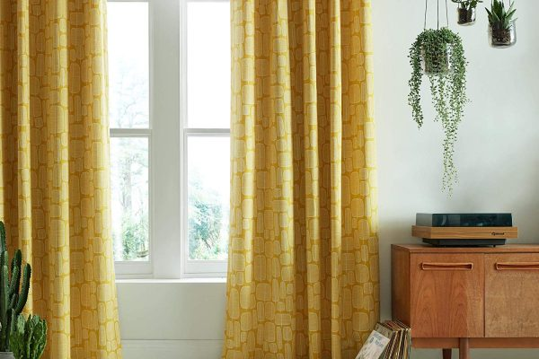 miss print little trees yellow curtains