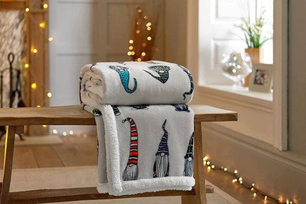 Sherpa-Reverse-Supersoft-Throw-in-Grey-with-Gonks-Design-in-Multi-Colours-140cm-x-180cm