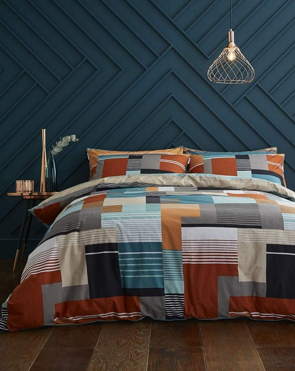 Horizon teal duvet cover set by terence conran