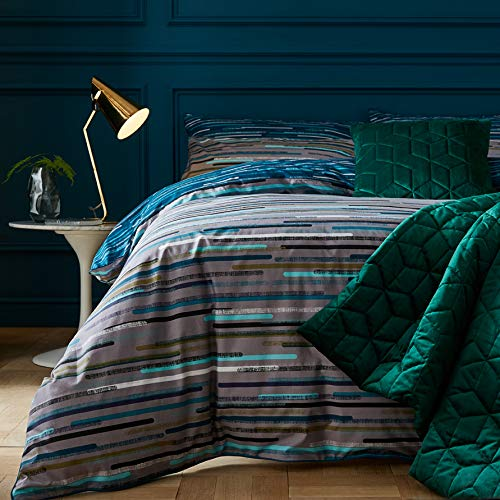 Terence Conran Motion Teal Blue Grey, Grey And Teal Bedding