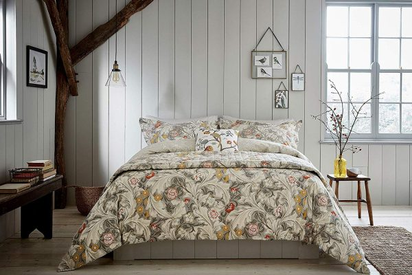 leicester grey floral duvet cover set morris & co