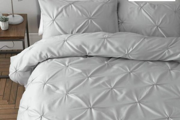catherine lansfield pencil pleat silver duvet set