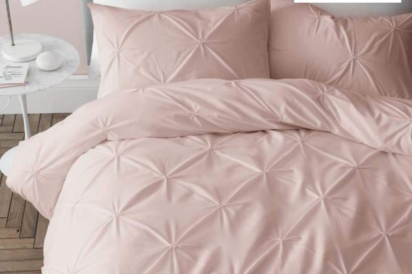 catherine lansfield pinch pleat so soft duvet set blush